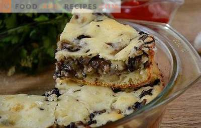 Pie jellied with mushrooms on kefir - gorgeous snack pastries for an hour! Step-by-step photo-recipe of flavored cream pie with mushrooms