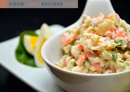 Salad with cabbage, corn and crab sticks - the best recipes. Cooking salads from cabbage, corn and crab sticks.