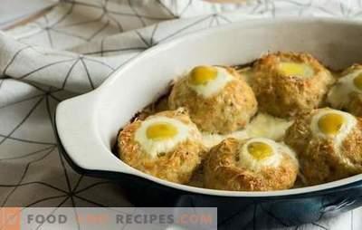 Nids de viande hachée avec un œuf au four - une alternative aux boulettes de viande. Recettes de nids de viande hachée avec oeuf au four avec diverses garnitures