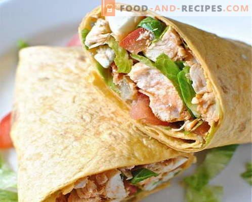 Le poulet pita est la meilleure recette. Comment bien et savoureux cuire des rouleaux de pita au poulet.