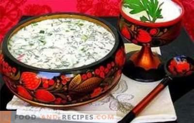 En après-midi d'été: okrochka sur la mayonnaise, avec kvas, eau minérale, kéfir. Pas besoin de deviner quoi faire pour le dîner: okroshka en mayonnaise