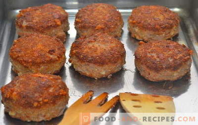 Côtelettes de viande hachées au four - toujours un succès! Recettes de galettes de viande hachées au four: avec du porc, du bœuf et de la volaille