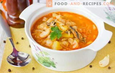 La soupe Sprat à la sauce tomate est une version économique d'un déjeuner savoureux. Recettes éprouvées de soupe au sprat à la sauce tomate