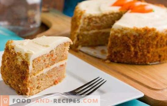 Gâteau éponge aux carottes - dessert ensoleillé! Recettes de biscuits délicats aux carottes avec noix, pruneaux, zeste dans une mijoteuse et four