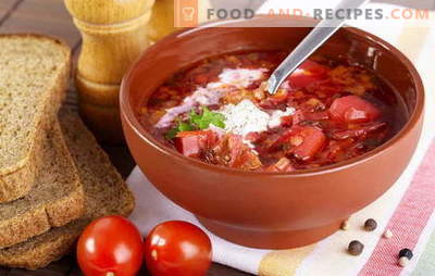 Comment faire cuire la soupe? Enseigner à tous! Cuire le bortsch avec les betteraves, la choucroute et le chou frais, les haricots, l'oseille et vous pouvez avec la sprat