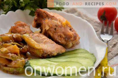Pollo con calabacines en el horno